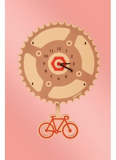 Peoples Clock Bisiklet Zamanı Sallanan Sarkaçlı Çocuk Odası Duvar Saati Renkli